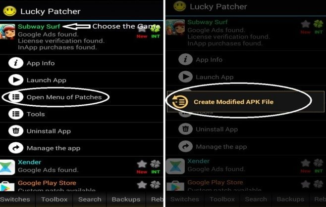 Open menu of Patches