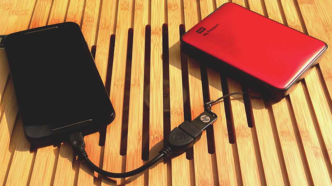 Connect A Portable Hard Drive - Uses Of OTG Cable