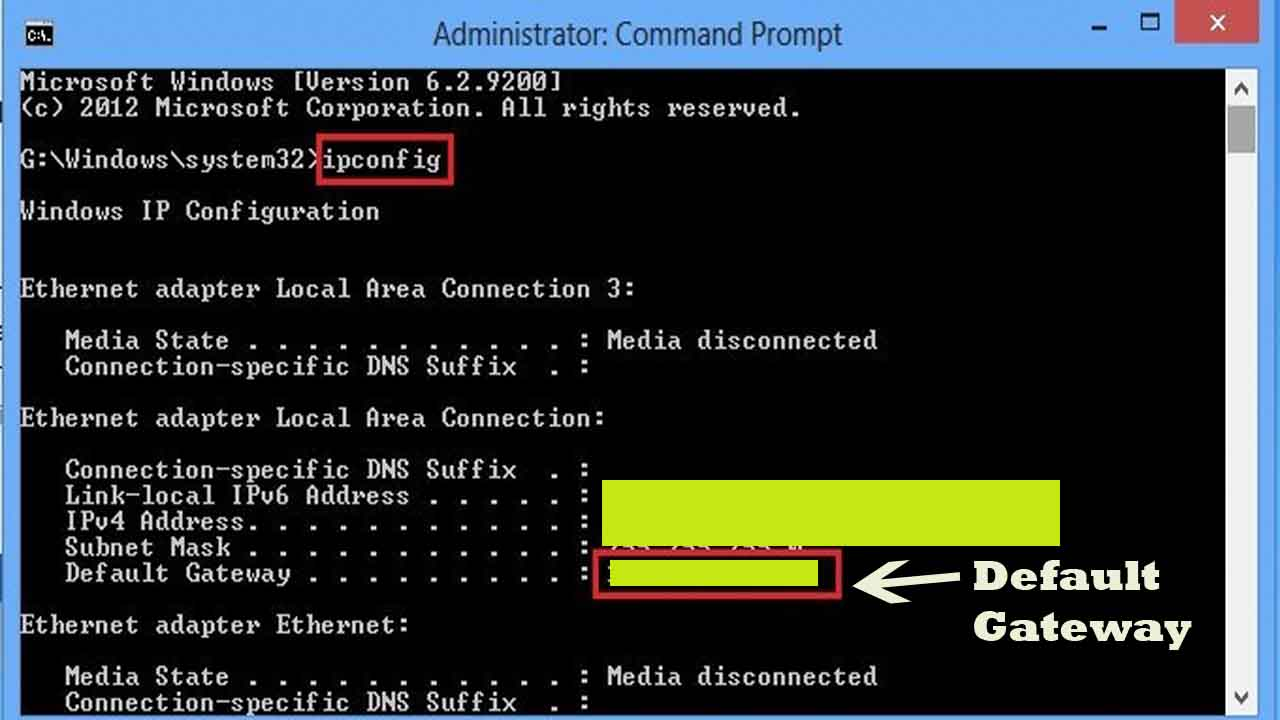 command prompt type IP config