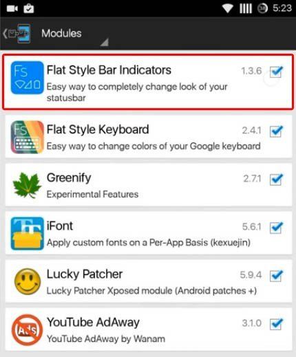 go to the Xposed Installer to make it enable Flat Style Bar Indicators