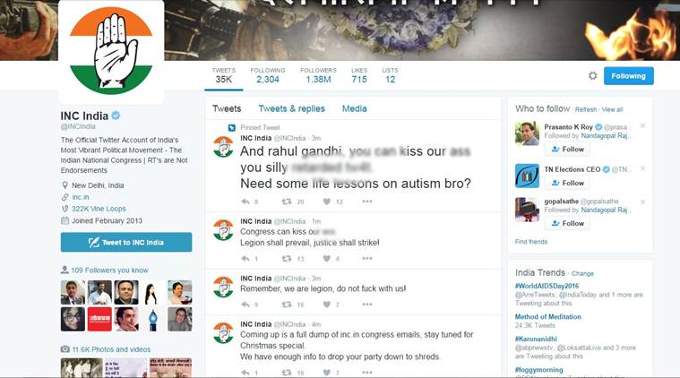Twitter Accounts Of Congress, Rahul, And Gandhi Hacked