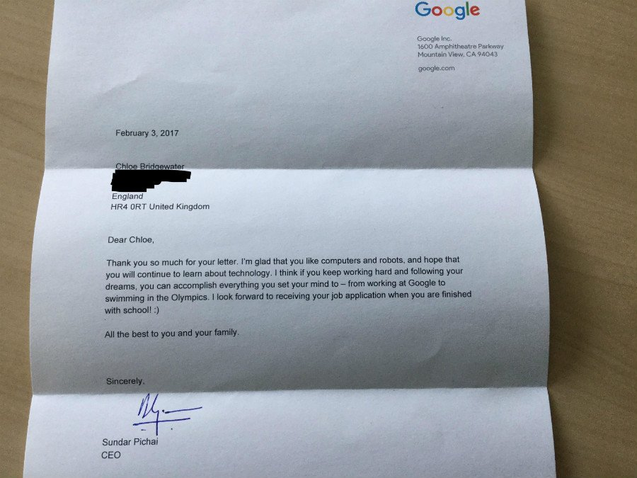 Chloe Bridgewater Letter For Google And Sundar Pichai Google Replied The Job Application