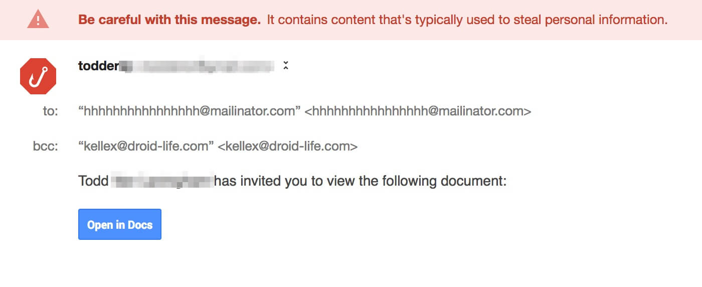 Beware! Don't Click That Google Docs Link In Your Gmail Inbox
