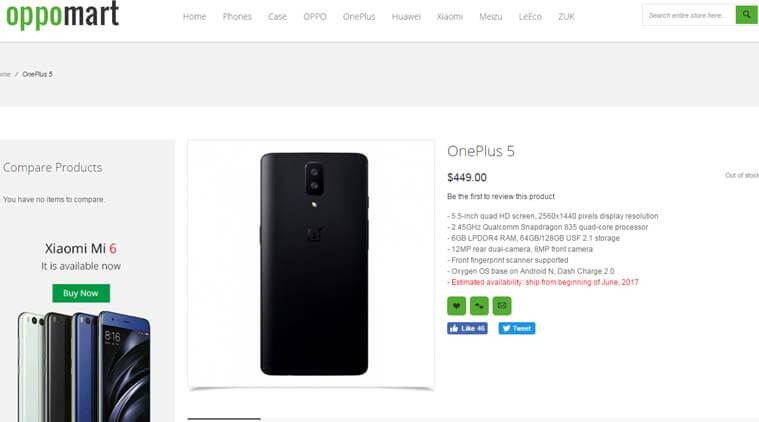 OnePlus 5 Spotted Online Retail Store - Images And Full Specification