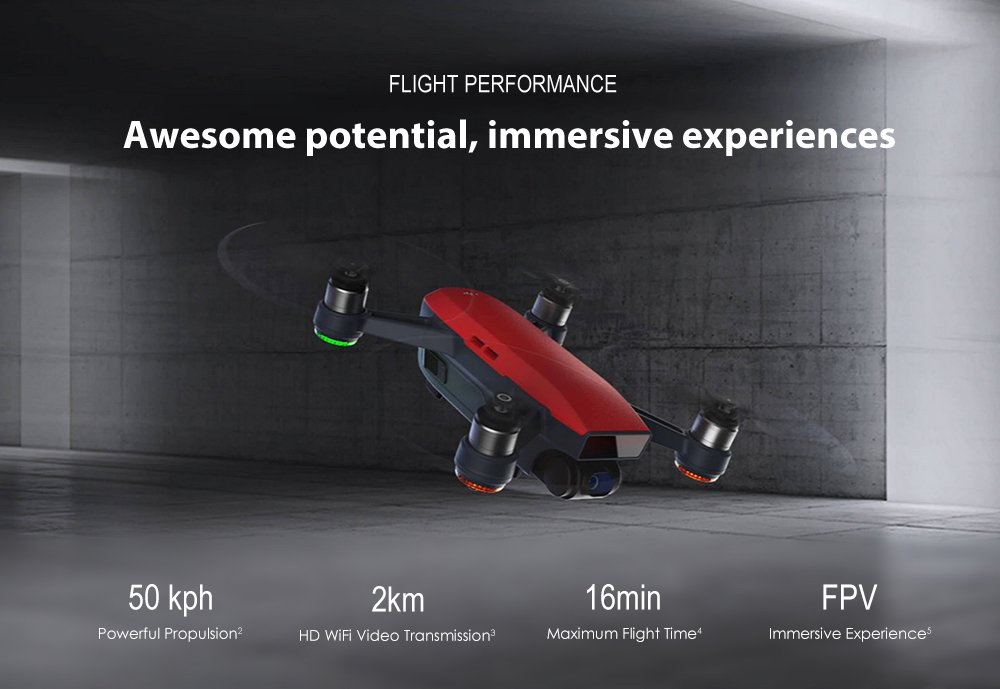 DJI Spark Mini Remote Control Selfie Drone With 12MP WiFi Live Camera Feed