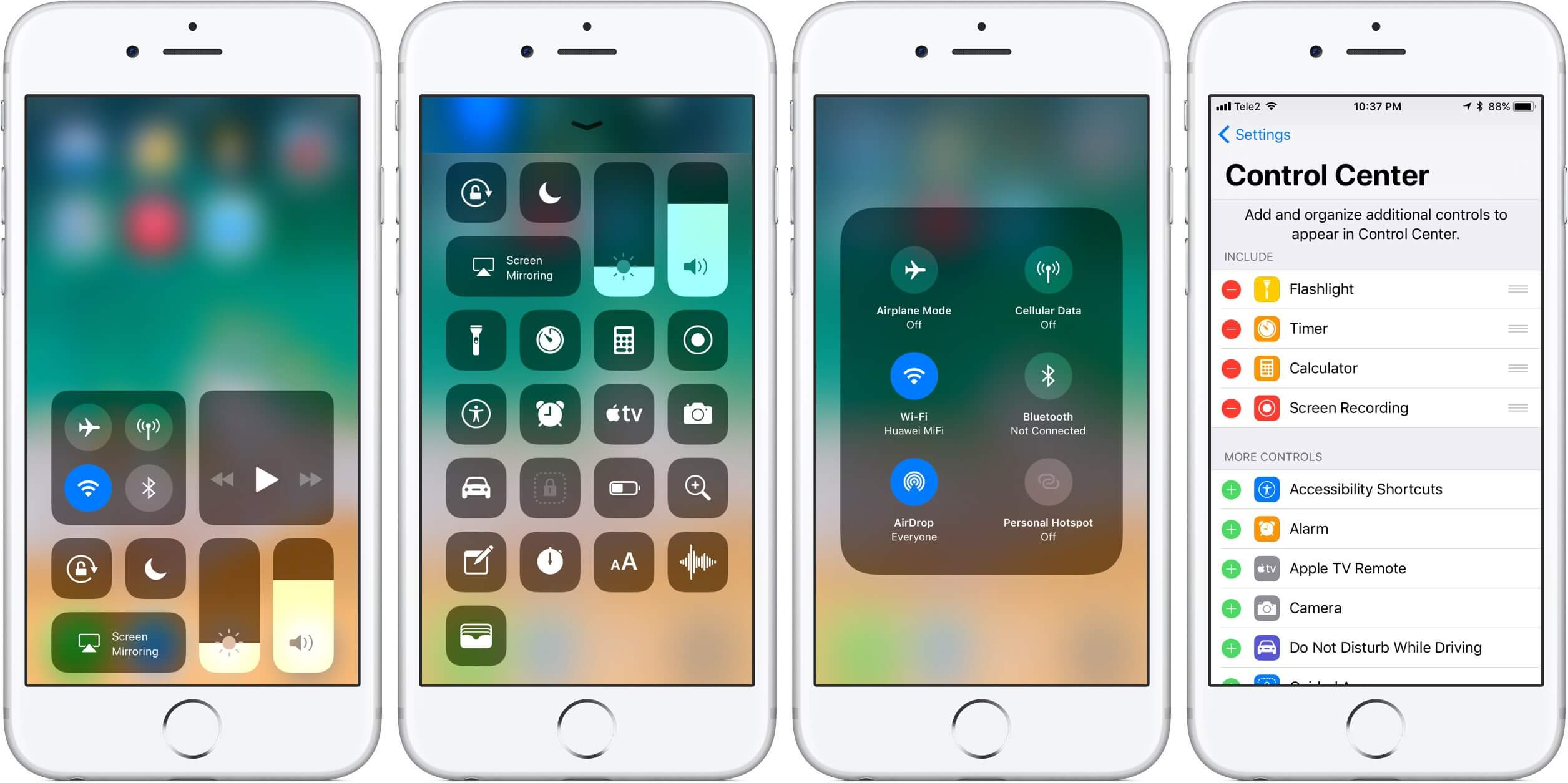 Customize iPhone Control Center in iOS 10 And 11