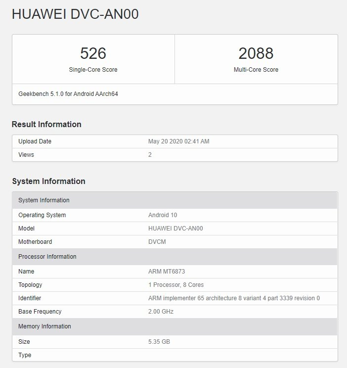 Huawei phone with Dimensity 800