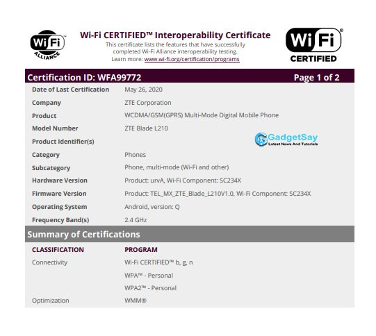 zte l210 wifi certification