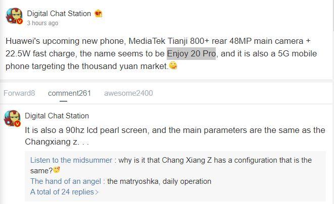 Huawei Enjoy 20 Pro leaks