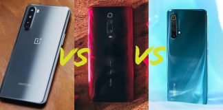 Comparison OnePlus Nord vs Redmi K20 Pro vs Realme X3