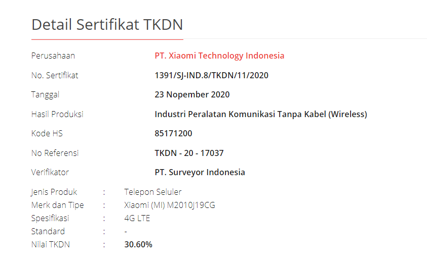 POCO M3 TDNK certification