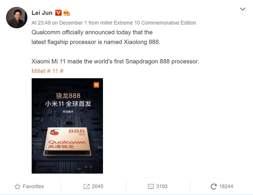 Lei Jung confirming Mi 11